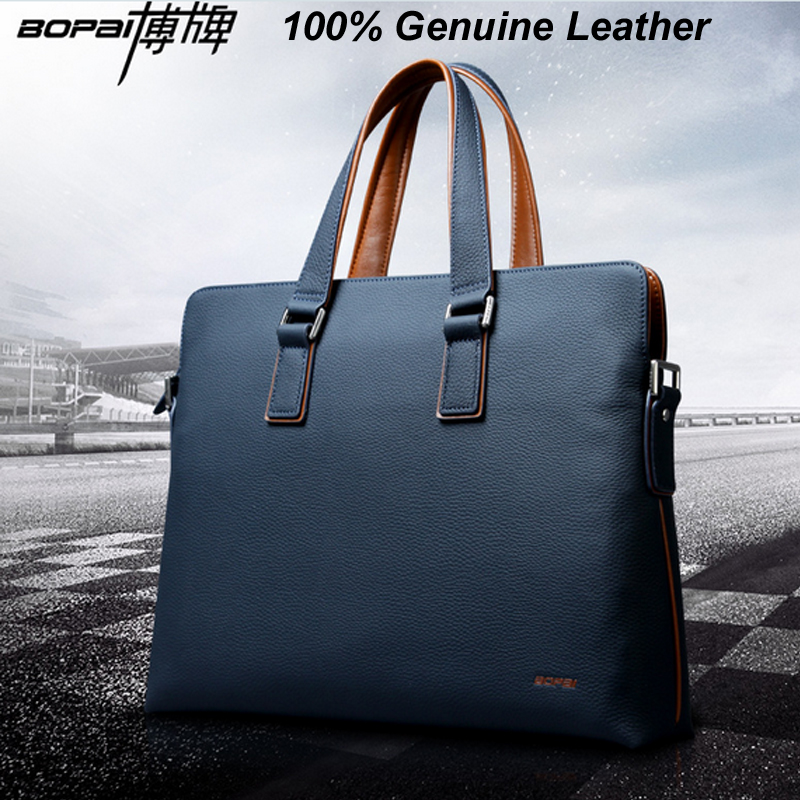 Men Genuine Leather Briefcase Bags Business Laptop Tote Bag Real Leather Crossbody Shoulder Bag Men's Messenger Pasta Executiva