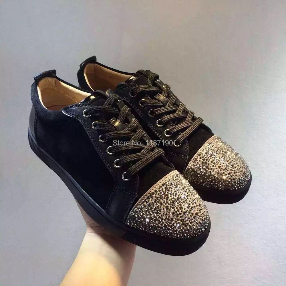 mens womens fashion design crystal rhinestone high-top red bottom shoes genuine leather casual luxury flat 36-46