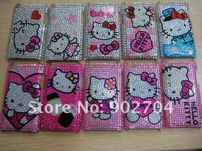 10pcs/lot hot sales hello kitty bling rhinestone crystal pattern cell/mobile phone case for ipod touch 4(China (Mainland))