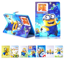Fashion Cartoon New Despicable Me Minions Character PU Leather Stand Case smart Cover For ipad 2 3 4 with screen protector(China (Mainland))