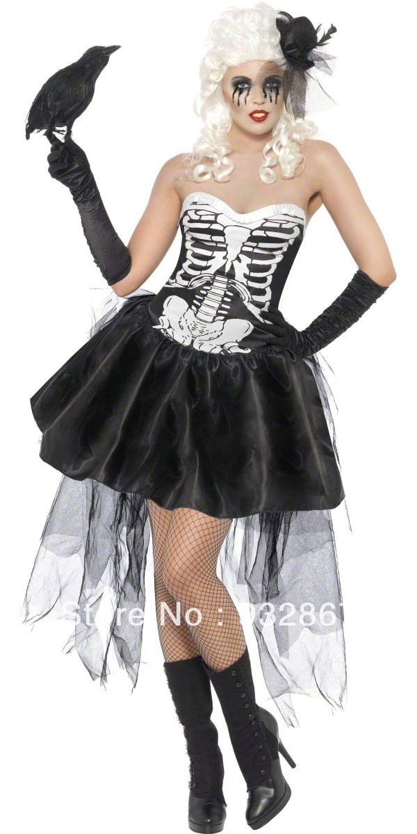 hot sale 2013 girls sexy halloween cosplay skeleton. Black Bedroom Furniture Sets. Home Design Ideas