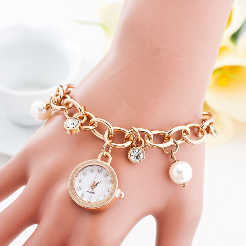 Fashion Style Link Chain Strap Women Watch Full Rhinestone Casual Watch Simulated Pearl Ladies Wristwatch Analog Quartz Clock(China (Mainland))