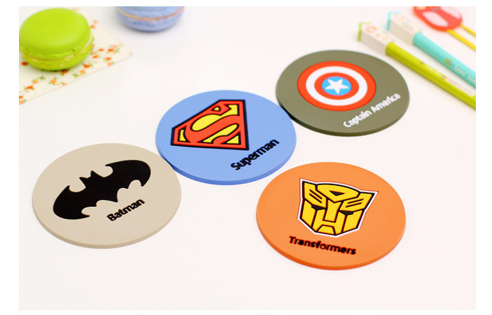 HOT SALE! 4 pcs/Lot Super hero coaster Silicone cup mat Placemat for table mug cup Zakka Dining accessories Novelty households(China (Mainland))