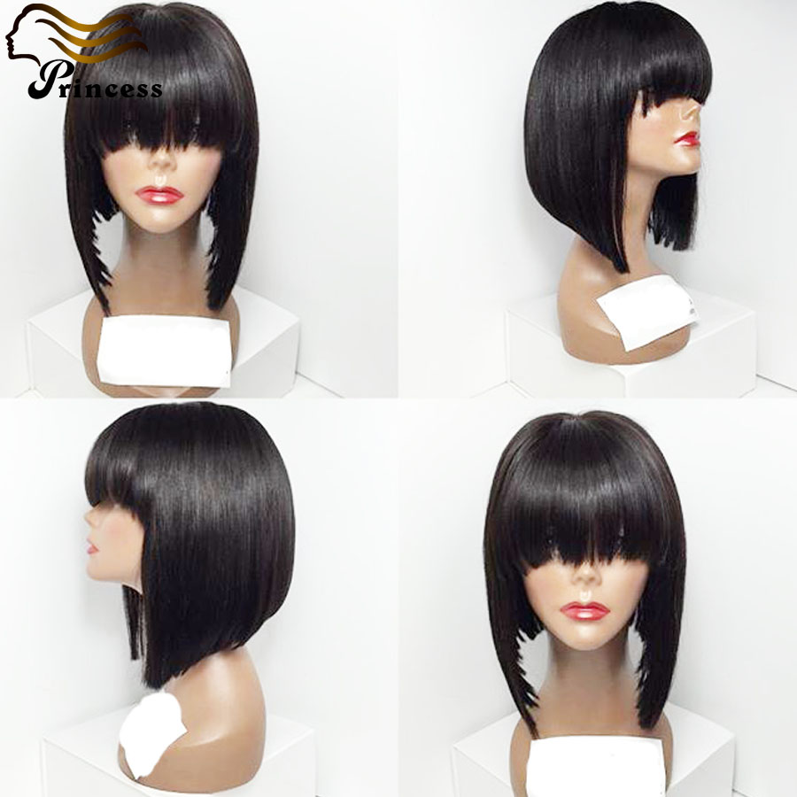 Top Quality Peruvian Human Hair Bob Wigs For Black Woman Silky Straight Bob Lace Front Wig With Bang /Human Hair Full Lace Wigs<br><br>Aliexpress