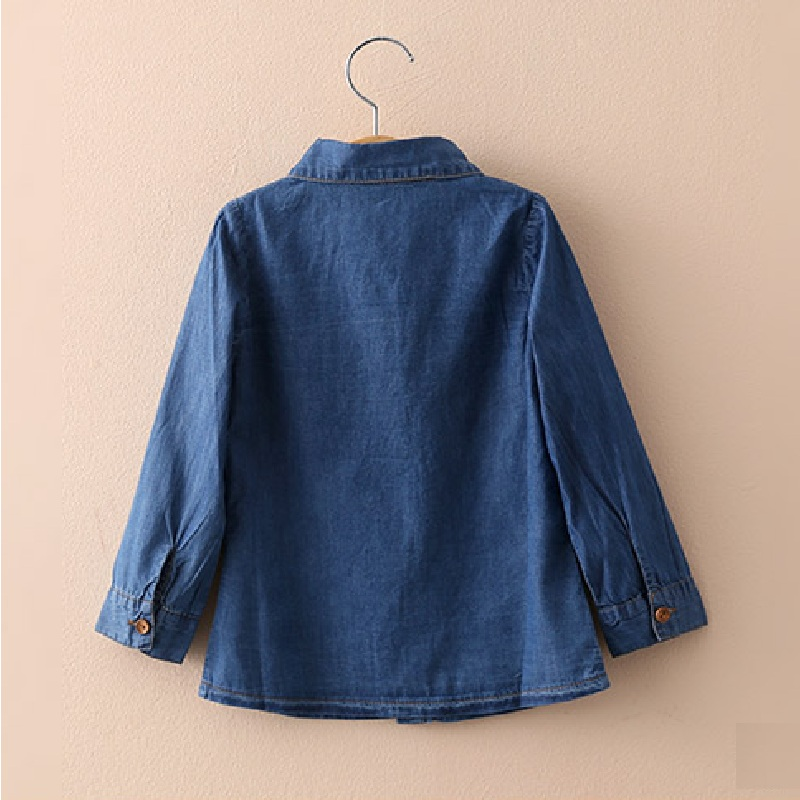 Kids Denim Shirs 216 Spring Children's Casual Shirt Cotton Solid Color Girls Fashion Jeans Blouse 2016 Long Sleeve Child Blouses