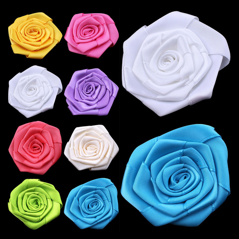 """120pcs/lot 2.4"""" 20colors Ruffled Satin Ribbon Rolled Rose Flower For Hair Accessories Artificial Fabric Flowers For Headbands(China (Mainland))"""