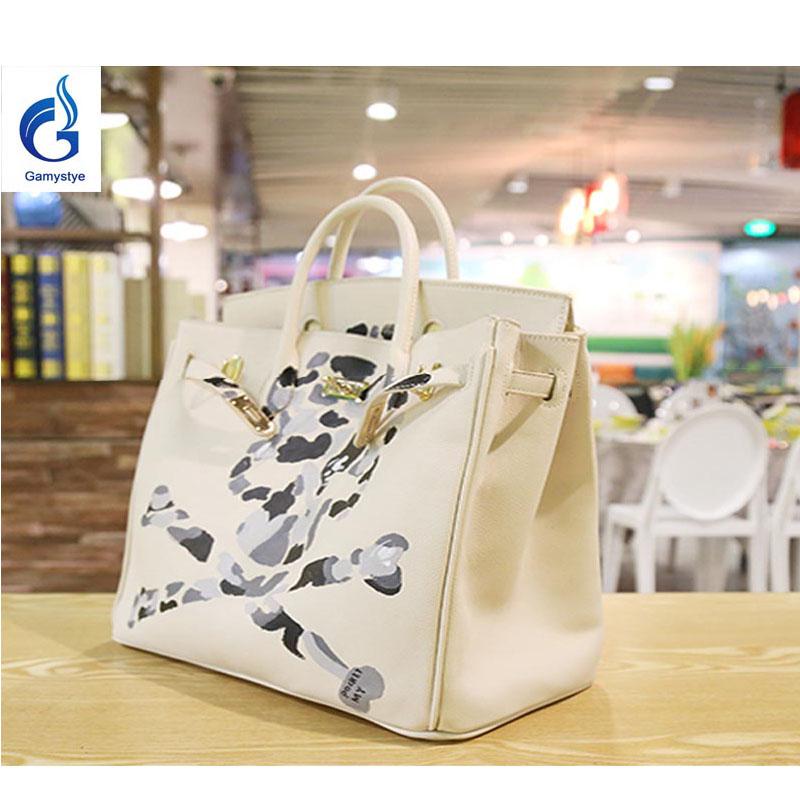 GAMYSTYE Graffiti Custom luxury handbags women bags designer Hand Painted bags painting white skull rock totes Bags 35cm Doodle(China (Mainland))