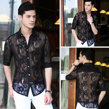 New Fashion Lace Chiffon casual men shirt sexy mens see through shirts designer clothes,plus size dresses xxxl,white black(China (Mainland))