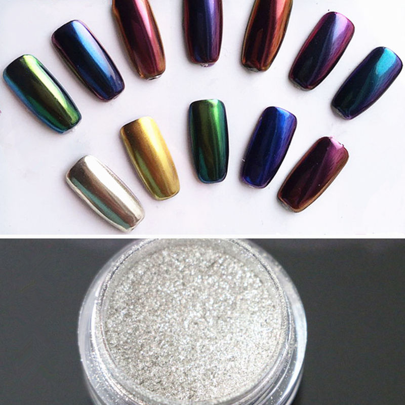 Colorful Nail Glitter Powder Shinning Mirror Eye Shadow Makeup Powder Dust Nail Art DIY Chrome Pigment Glitters Mirror Effect(China (Mainland))