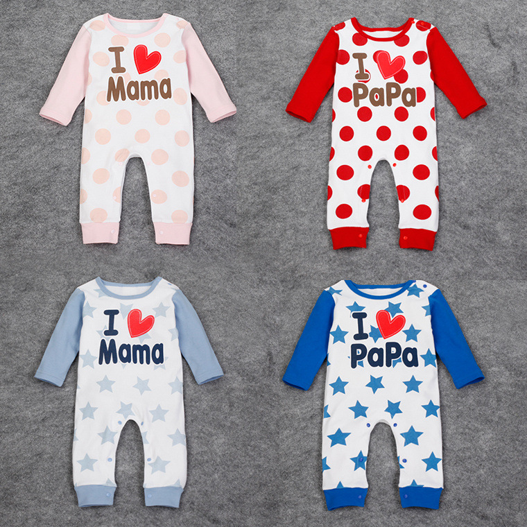 Hot Sale Infant Clothes Baby Rompers Love Mama Papa Newborn Jumpsuit Babies Boy Girls Cotton Romper Infantil Baby Clothing(China (Mainland))