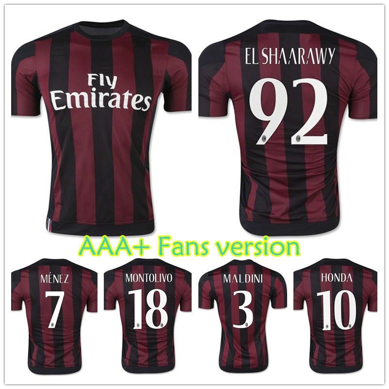 New arrival 15/16 AC Milan jersey home Italy football shirt AAA+ thai quality 2015 MALDINI HONDA EL SHAARAWY MONTOLIVO uniform(China (Mainland))