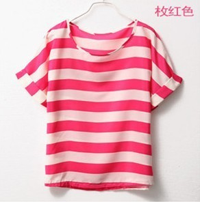 Imixbox Ladies' T-shirt Printed stripe loose chiffon T-shirt Free Shipping W4143