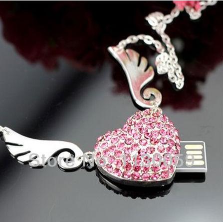 100% real capacity girls Angel wing usb Flash Drive diamond crystal heart 16GB /pen /flash drive usb flash drive S216(China (Mainland))