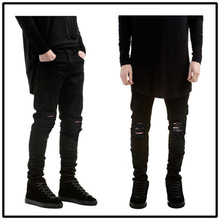 ripped jeans for men skinny Distressed slim famous brand designer biker hip hop swag tyga white black jeans kanye west(China (Mainland))