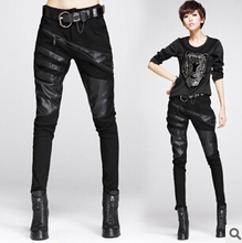 Sexy elastically-stretchable black splicing leather pants and trousers for women(China (Mainland))