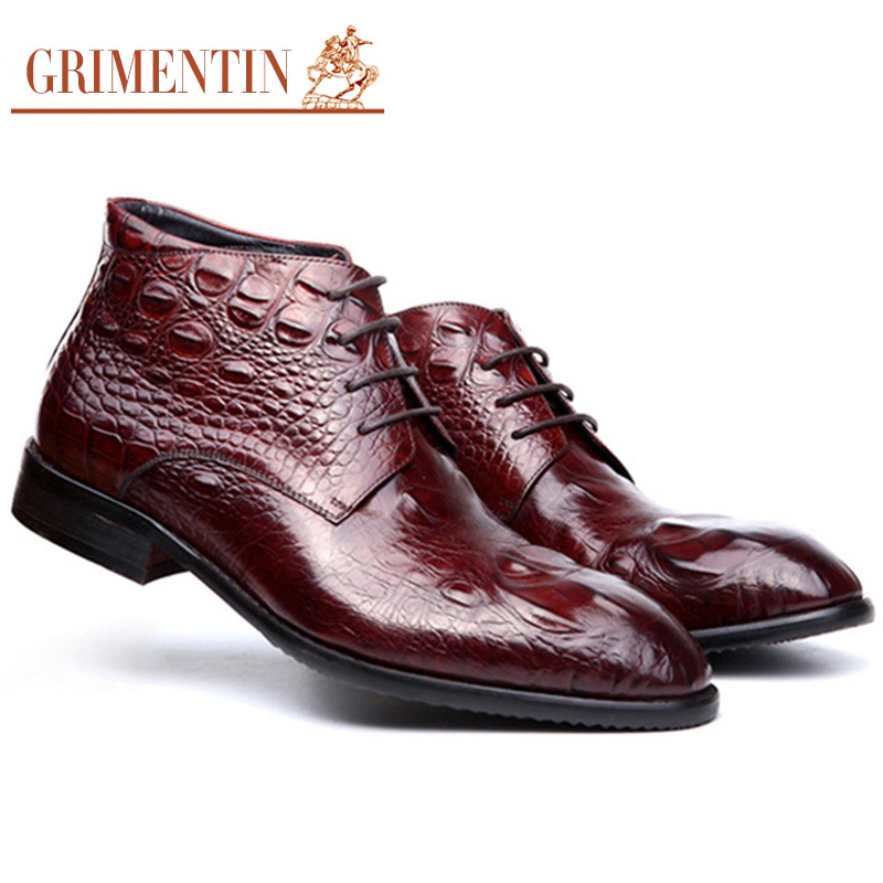 GRIMENTIN fashion vintage genuine leather ankle boots crocodile hand made formal Italian men shoes for business size:6-10(China (Mainland))
