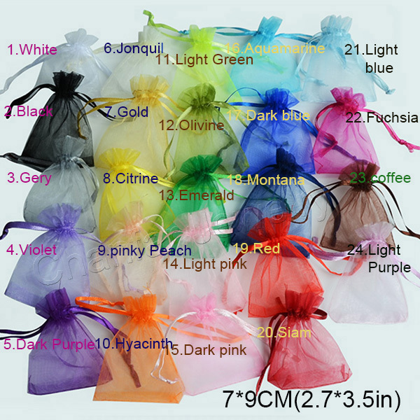50pcs/bag Selection 24 Colors Jewelry Packing Drawable Organza Bags 7x9cm,Gift Bags & Pouches,packaging bags free shipping(China (Mainland))