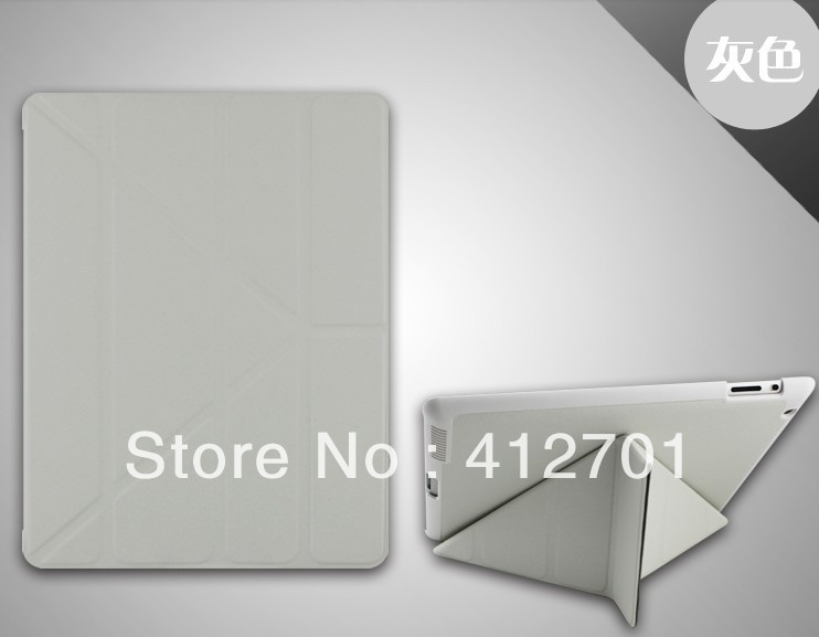 50 pieces free shipping Magic colorful pu leather case for ipad 4 smart folding stand cover case(China (Mainland))