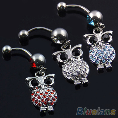 Owl Belly Navel Ring Body Jewelry Piercing Red Blue White 009B(China (Mainland))