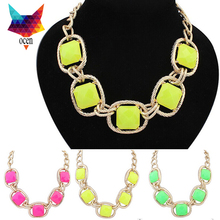 Shijie Jewelry Factory 2014 Elegant Color Chain Rhinestone Necklace Women Fashion Shourouk Statement Necklaces Pendants(China (Mainland))