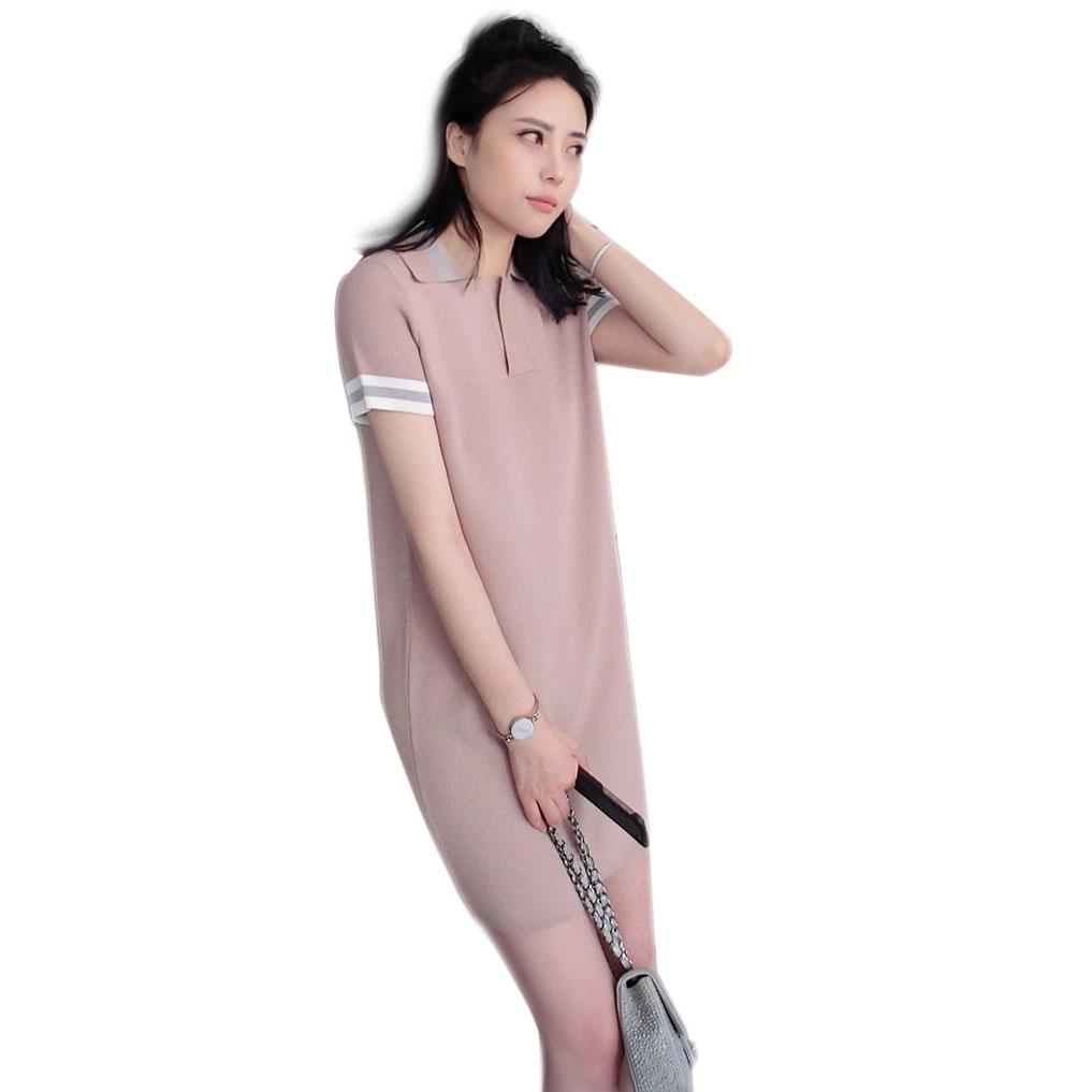 Трикотажное платье с воротником поло