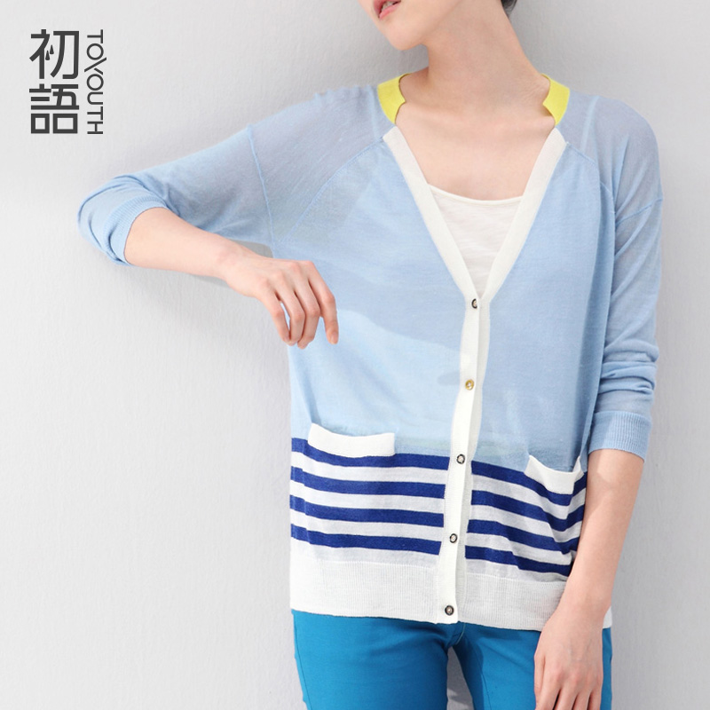 2015 To Youth Spring Autumn Linen Women Knitted Cardigan Striped Pattern V neck Long Sleeve Basic Sweater TopsОдежда и ак�е��уары<br><br><br>Aliexpress