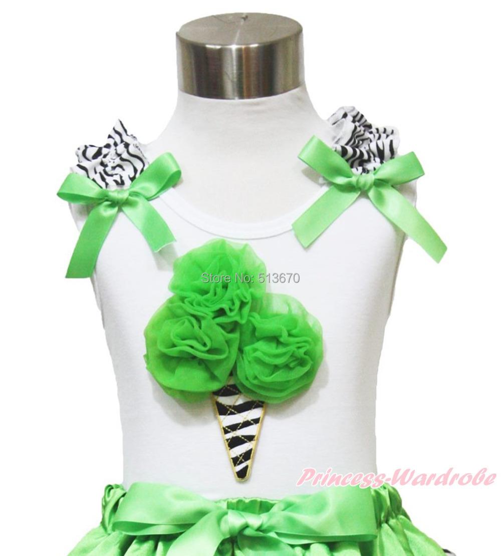Zebra Ice cream Ruffle Bow Baby Girl Pettitop Shirt NB-10Year MAT657(Hong Kong)