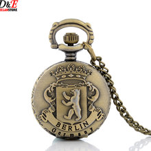 Bronze Vintage Berlin Germany Style Quartz Pocket Watch Chain Retor Necklace With Pendant P964 Wholesale price good quality