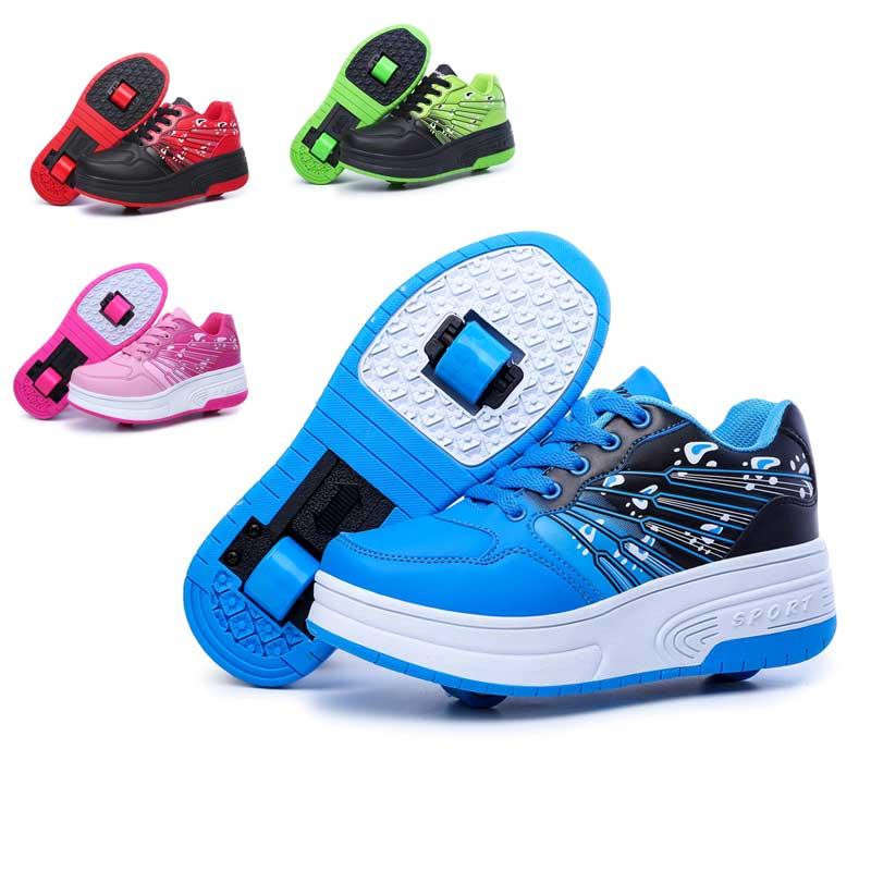 Roller Shoes Boys Girls sneakers tenis infantil Children Kids roller skates One Two wheels shoes women men sports - children shoe world store