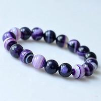 Fancy 6MM Purple Agate Beads Bracelets Bangles Elegant Jewelry 066