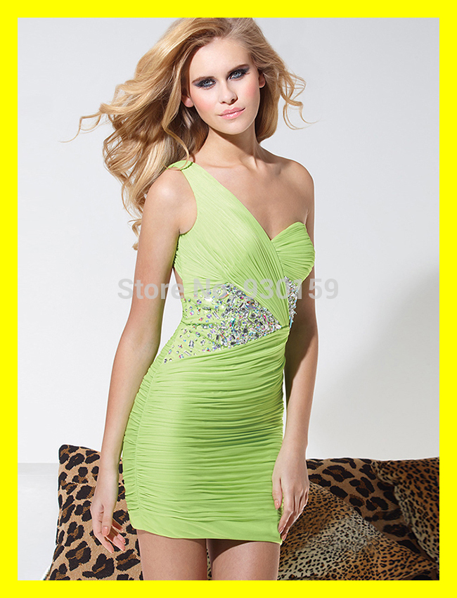 Pretty Prom Dresses Homecoming Dress Shop Stores Places To Buy Short Built-In Bra One-Shoulder Sleeveless Beading 2015 Wholesale(China (Mainland))