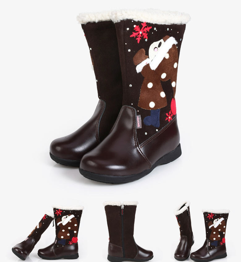 Black/Red/Coffee2013Winter Thick Cowhide Genuine Leather Cottton-Padded Shoes Children Baby Girls Snow Boots Princess BootsD1289<br><br>Aliexpress
