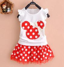 2pcs New Toddler Baby Girls Kids Princess Party Cartoon Mouse Dress Dot Dresses Kids Girls Clothes(China (Mainland))