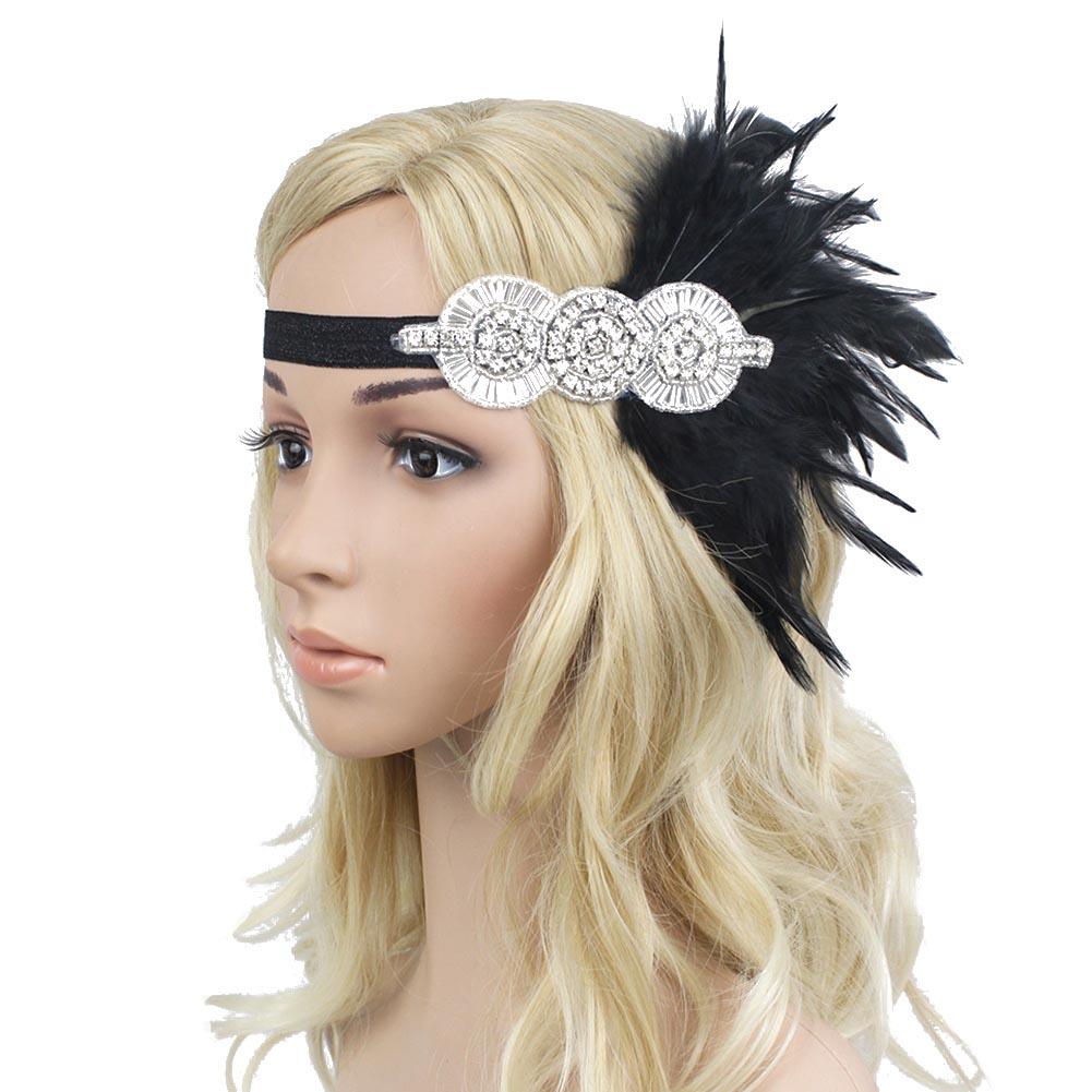 Retro 1920s Black Feather Headpiece Beaded Sequined Hairband Great Gatsby Flapper Headband(China (Mainland))