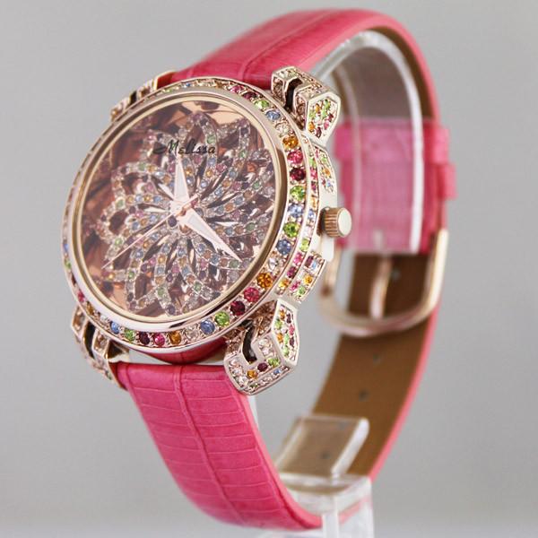 Мелисса леди наручные часы женские кварцевые мода платье кожаный браслет люксового конфеты кристалл девушка подарок на день рождения