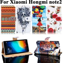 Painted PU Leather Cases Xiaomi Redmi Note 2 II Hongmi Covers Card Holders Anti-Scratch Plastic Wallet Flip Holster - WEE store