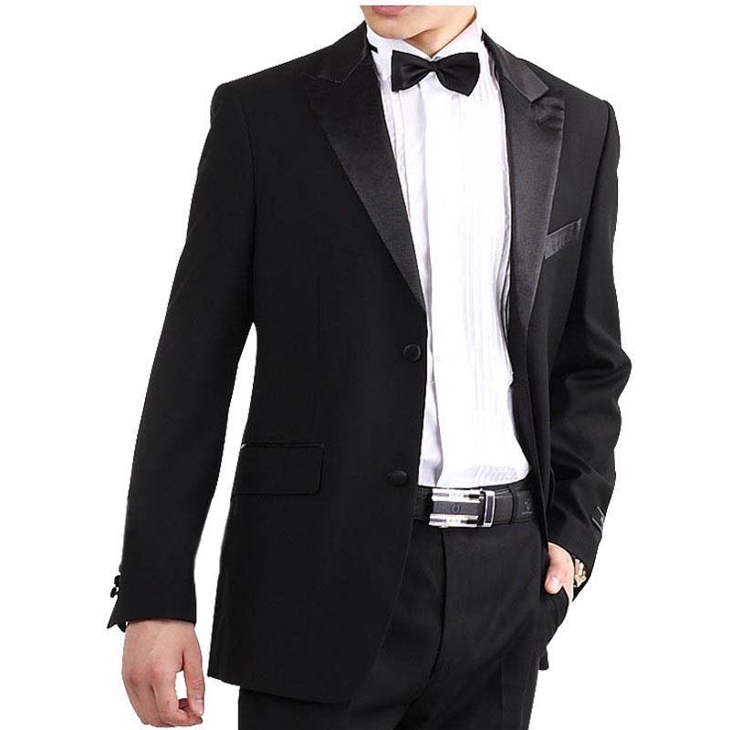 2017 Wholesale Groomsman Formal Apparel Black Slims Lapel Suits