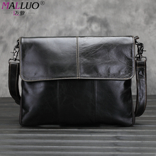MALLUO Genuine Cow Leather Men Messenger Bags black Shoulder Bag for business Clutch Bag luxury handbags men bags designer Bolsa(China (Mainland))