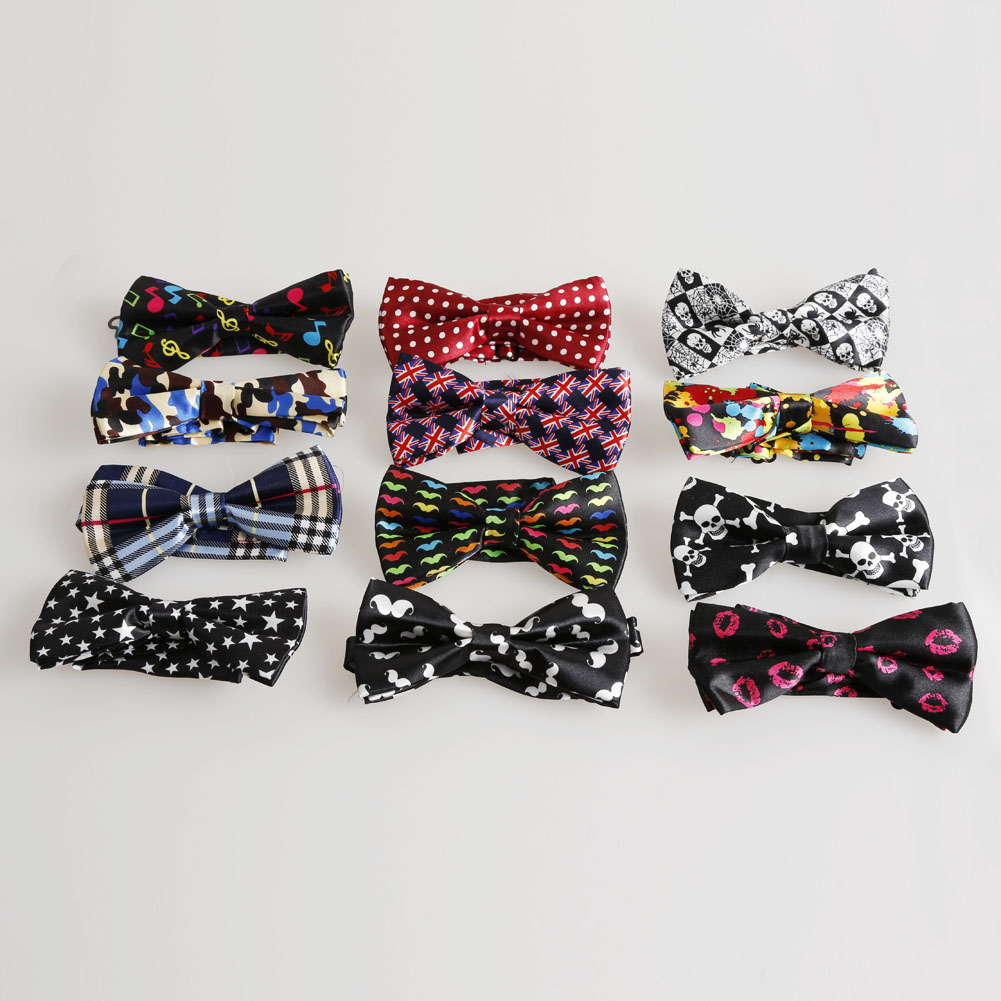 New Fashion Men's women's Polyester Silk Bow Tie Striped/Leopard/Plaid Bow Ties Casual Butterfly Cravat Hot Sale(China (Mainland))