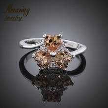 Fashion Jewelry silver Plated luxurious sapphire big crystal CZ diamond ruby heart lord of the Rings