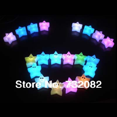 Battery Included 2pcs/lot Novelty Changing Colors Light Colorful Magic Star LED Light Star Nightlight Free shipping E1006(China (Mainland))