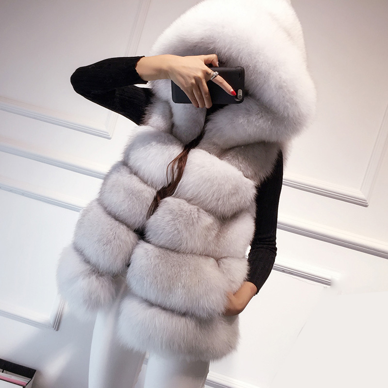 2015 full leather fox fur vest outerwear medium-long fashion with a hood(China (Mainland))