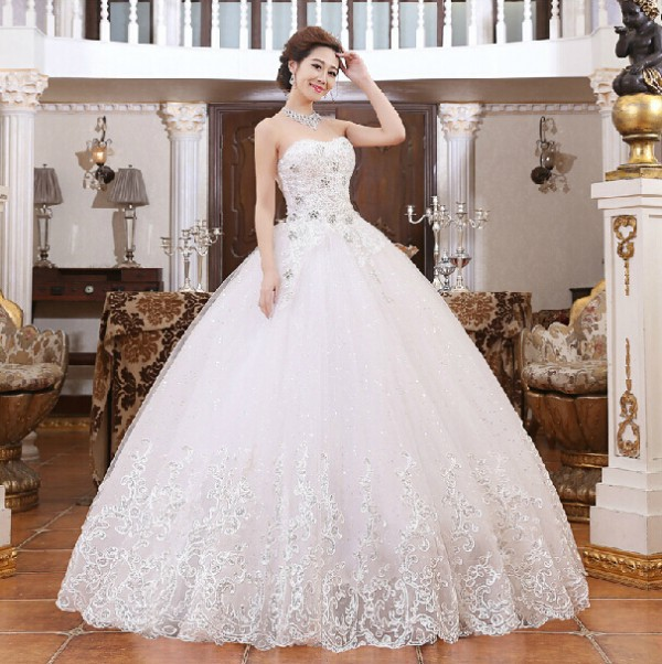 Fashion Wedding Dresses Bride Bandage Drill Lace Princess Dress Wrapped Chest Ball Gown Wedding Dresses WD034(China (Mainland))