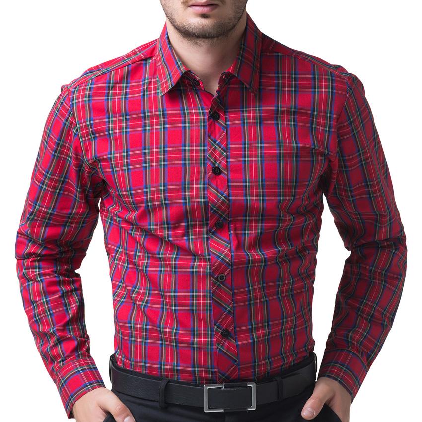New arrival fashion plaid shirt 100 cotton luxury male for Women s slim fit flannel shirt