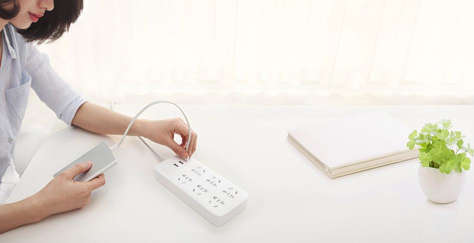 Original Xiaomi Smart Power Strip 2.1A Fast Charging 3 USB Extension Socket Plug 6 Standard Socket Adapter (5)