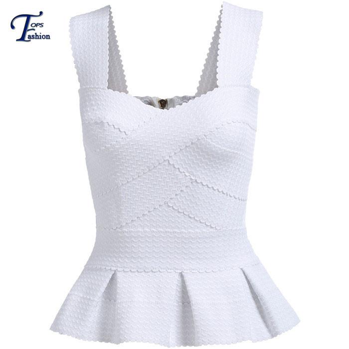 White Spaghetti Strap Criss Cross Sleeveless Zipper Back Ruffle Top Women European Style New Fashion 2015 Elegant Peplum Blouse(China (Mainland))