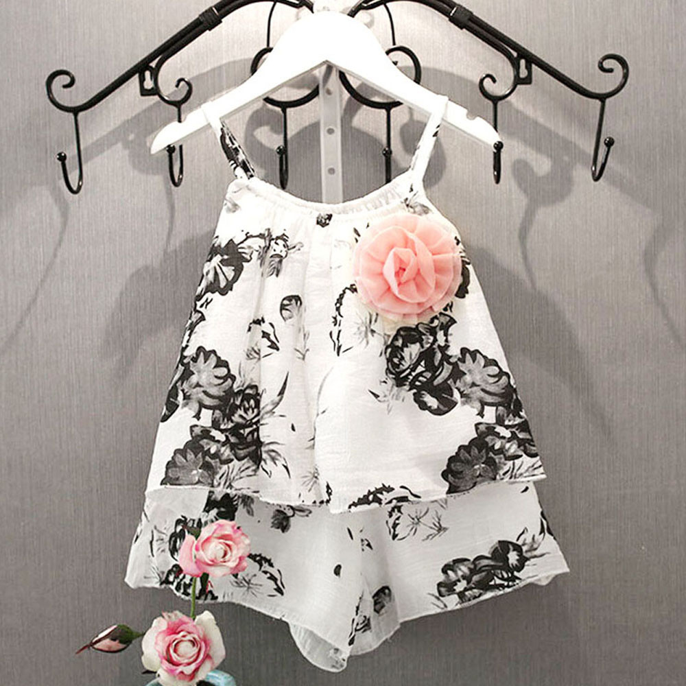 Girl Clothing Set 2016 Black White Ink and Wash Painting Girls Sets Flower Sling T shirts & Short Pants Kid Fashion Suits Shirt(China (Mainland))