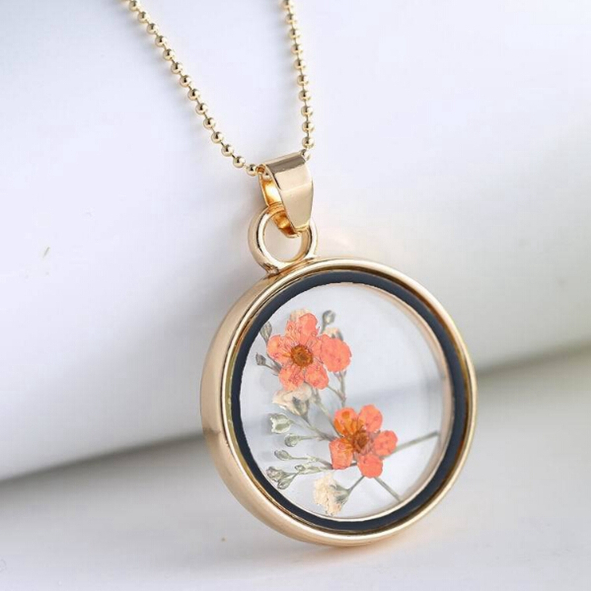 HOT Fashion Jewelry Women Round Glass Dry Flower Pendant Necklace Alloy DIY Decoration Christmas Gift 6 Styles Floral Pattern(China (Mainland))