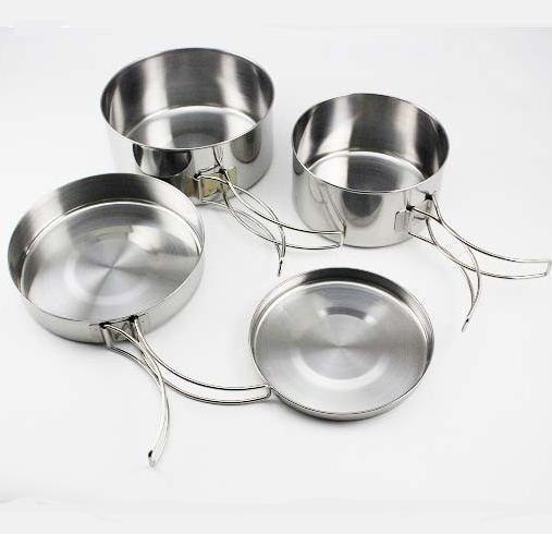 Outdoor Camping Stainless Steel Cookware Tableware Pan Pot Bowl Cooking Set(China (Mainland))