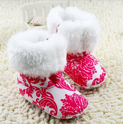 2015 Fashion Winter Flower Baby Shoes Infants Fleece Warm Boots Toddler Girl Wool Snow Shoes(China (Mainland))